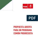 Propuesta abierta para un Programa Común Progresista