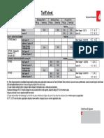 Tariff Sheet