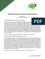 Geografia Politica. Una Breve Storia Filosofica Angelo Turco