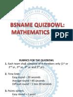 Math Quizbowl Questionnaires