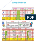Calendar Școlar 2019 - 2020