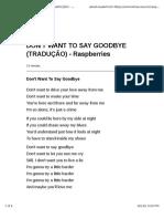 Don't Want to Say Goodbye (Tradução) - Raspberries