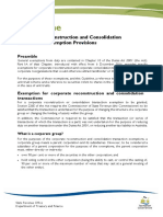 Corporate Reconstruction and Consolidation Exemption Provisions Guideline