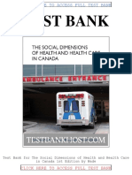 Test Bank the Social Dimensions of Health and Health Care in Canada 1st Edition by Wade