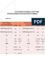 Design Calculations of Shell and Tube Steam Generator for Steam Turbine
