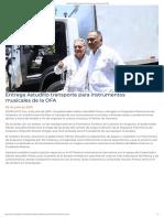 05-07-2019 Entrega Astudillo Transporte Para Instrumentos Musicales de La OFA.
