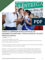 """08-07-2019 ENTREGA EL GOBERNADOR ASTUDILLO APOYOS DE LOS PROGRAMAS """"UN CUARTO MÁS"""", ESTUFAS ECOLÓGICAS Y SILLAS DE RUEDAS EN ACAPULCO."""