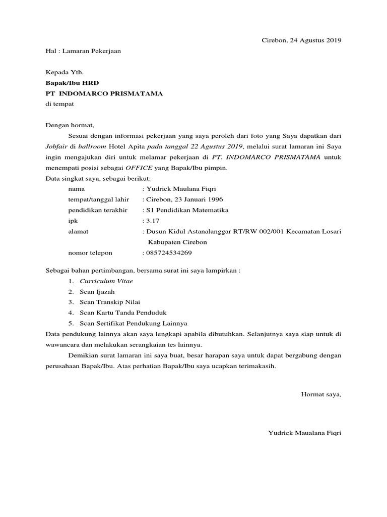 Surat Lamaran Kerja Indomaret