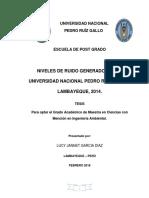 Niveles de Ruido Generados en La Universidad Nacional Pedro Ruiz Gallo 2014