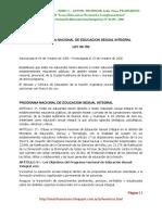 8.1. Programa Nacional de Educ. Sexual Integral - Ley 26150