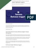 16 Tenses Dalam Bahasa Inggris Lengkap Rumus, Penggunaan Dan Contoh Kalimat
