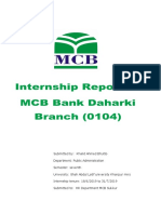 Khalid Bhutto Mcb Internship Report) PDF 2