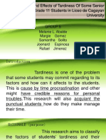 The Factors and Effects of Tardiness of Some Senior Highschool Grade 11 Students in Liceo de Cagayan[1]