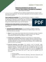 Minimum Requirements for Establishment of Pharmacy Institution 17-03-2016