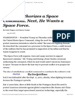 Trump Authorizes a Space Command. Next, He Wants a Space Force. - The New York Times