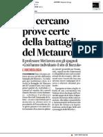 """""""Si cercano prove certe della battaglia del Metauro"""" - Il Corriere Adriatico del 3 settembre 2019"""