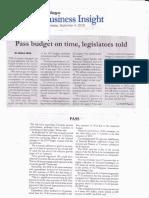 Malaya, Sept 4, 2019, Pass budget on time, legislators told.pdf