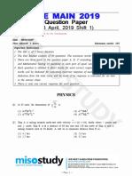 JEE Main 2019 Question Paper 08 April 2019 Shift 1 by Govt
