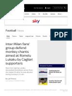 Inter Milan Fans' Group Defend Monkey Chants Aimed at Romelu Lukaku by Cagliari