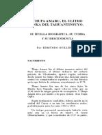 Thupa Amaro El Último Inka Del Tahuantinsuyo