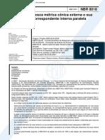 NBR 08018 PB 981 - Rosca Metrica Conica Externa e Sua Correspondente Interna Paralela