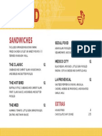 Flybird sandwich menu