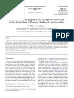 N.aktasandA.gürses,Moistureadsorptionpropertiesandadsorptionisostericheatofdehydratedslicesofpast