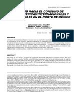 Actitud Hacia El Consumo de Comidas Étnicas-Internacionales y Tradicionales en El Norte de México