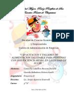 Capacitacion y Talleres de Alimentacion Saludable Para Personas Con Insuficiencia Renal en La Ciudad de Sucre
