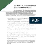 Taller Programa y Plan de Auditoría Empresa de Transporte x