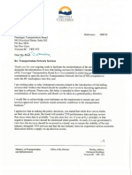 Letter From Minister of Transportation and Infrastructure