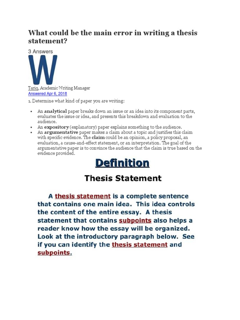 error in composing a thesis statement