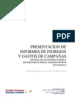 PRESENTACION DE INFORMES DE INGRESOS Y GASTOS DE CAMPAÑA