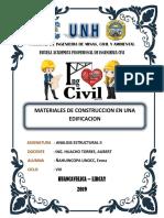 MATERIALES DE CONSTRUCCION DE UNA EDIFICACION