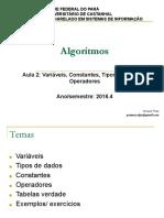 Variáveis, Constantes, Tipos de Dados e Operadores