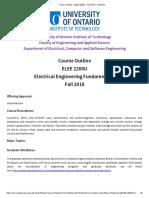 Course Outline ELEE 2200U Fall 2018 Fall 2018