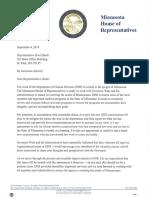 Speaker Melissa Hortman Letter to Rep. Kurt Daudt RE