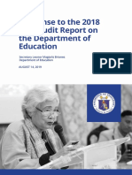 Response to the 2018 COA Audit Report on the Department of Education August 2019