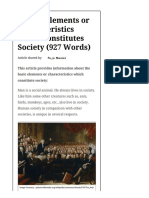 2-6 Basic Elements or Characteristics Which Constitutes Society (927 Words)