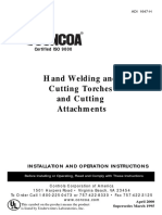 ISO 9000 Hand Welding and Cutting Torches and Cutting Attachement