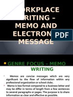 Canoy Group - Workplace Writing –Memo and Electronic Message