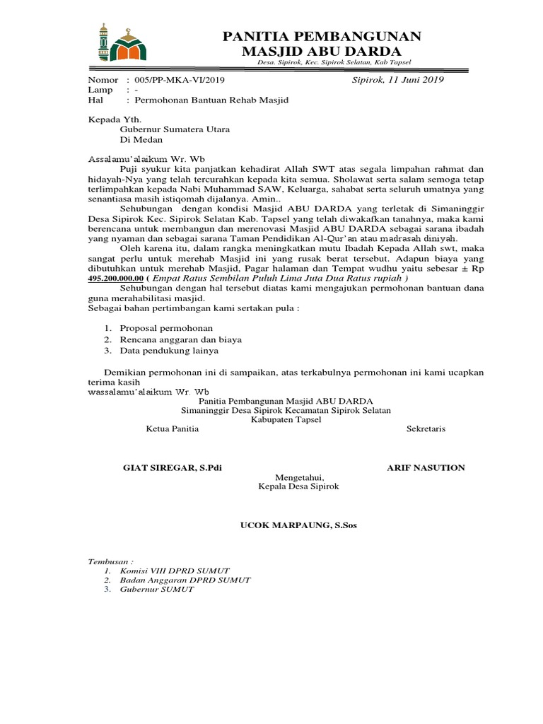 Contoh Proposal Pembangunan Masjid Guru Ilmu Sosial