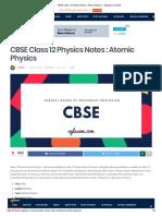 Notes CBSE Class 12 Physics Notes _ Atomic Physics.
