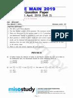 JEE Main 2019 Question Paper 08 April 2019 Shift 2 by Govt