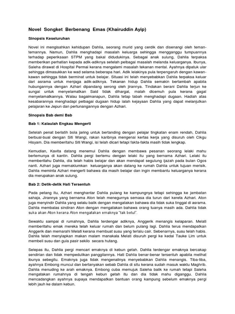 Novel Songket Berbenang Emas Khairuddin Ayip Sinopsis Keseluruhan
