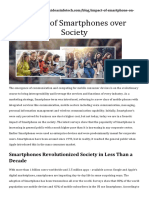 IMPACT OF SMARTPHONES OVER SOCIETY-- ANALYSIS