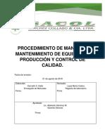 PROCEDIMIENTO DE MANEJO Y MANTENIMIENTO DE EQUIPOS DE PRODUCCIÓN Y CONTROL DE CALIDAD.docx