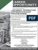 Refinery Operator Apprenticeship Ad