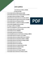 Facebook Universidades Mexico