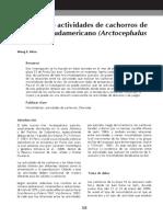 Patrones de actividades de cachorros de Lobo fino Sudamericano (Arctocephalus australis)